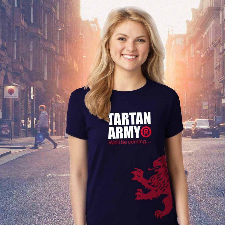 Tartan Army Classic Ladies Navy T-Shirt