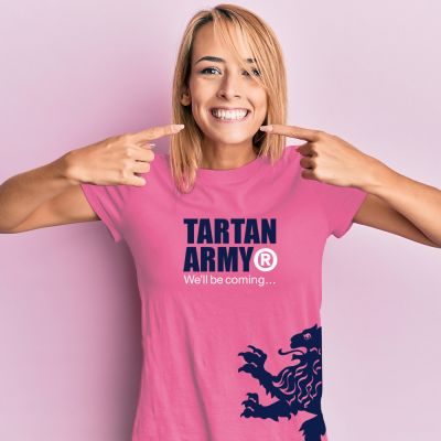 Tartan Army Classic Ladies Pink T-Shirt