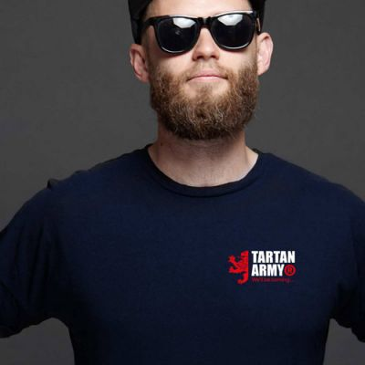 Tartan Army Joint Small Logo Gents Navy T-Shirt