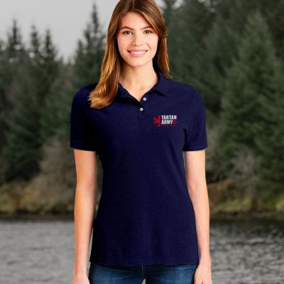Tartan Army Ladies Navy Polo Shirt